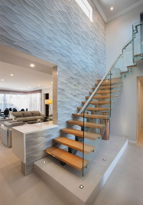 custom two storey home design with modern style stair