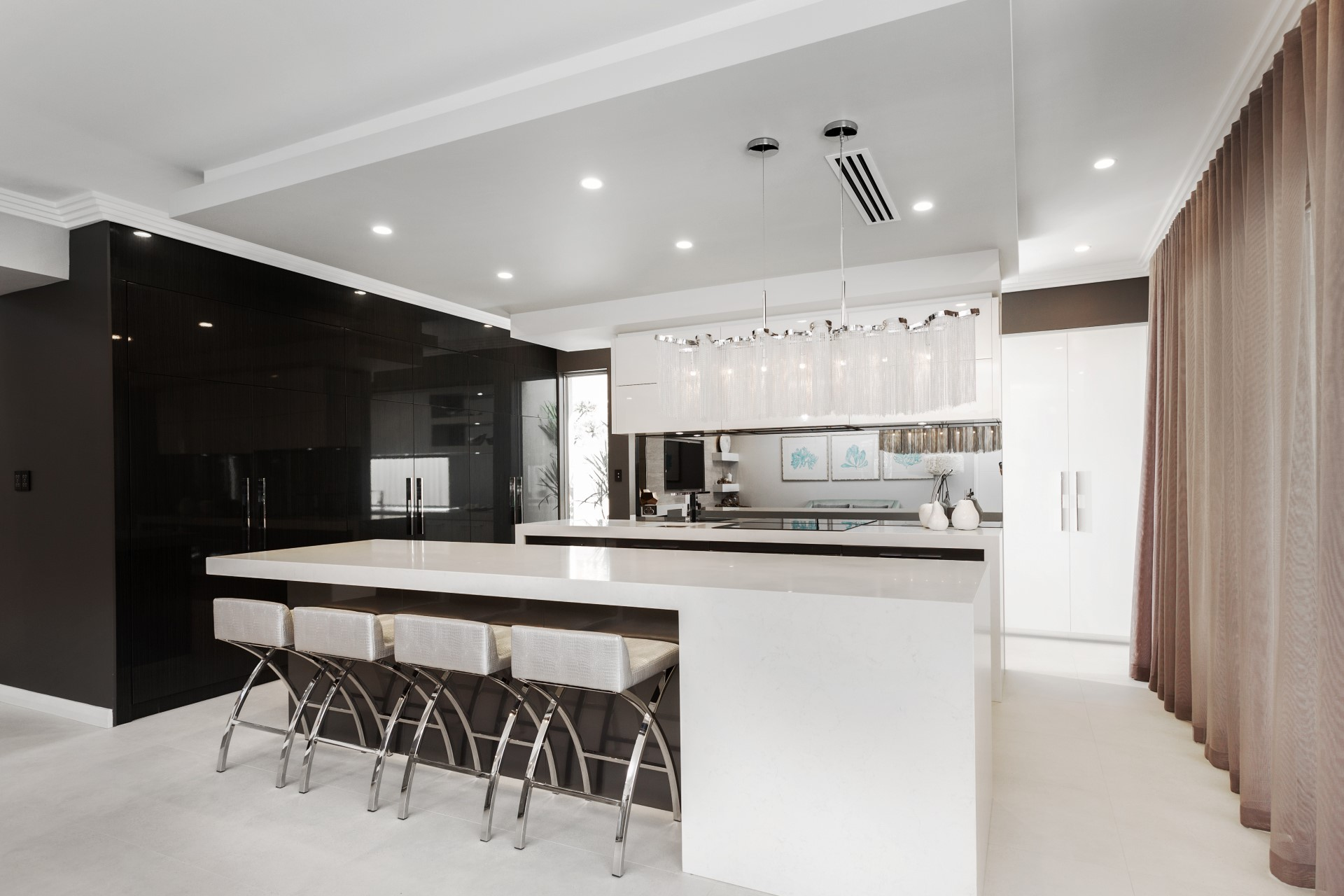 black and silver open kitchen